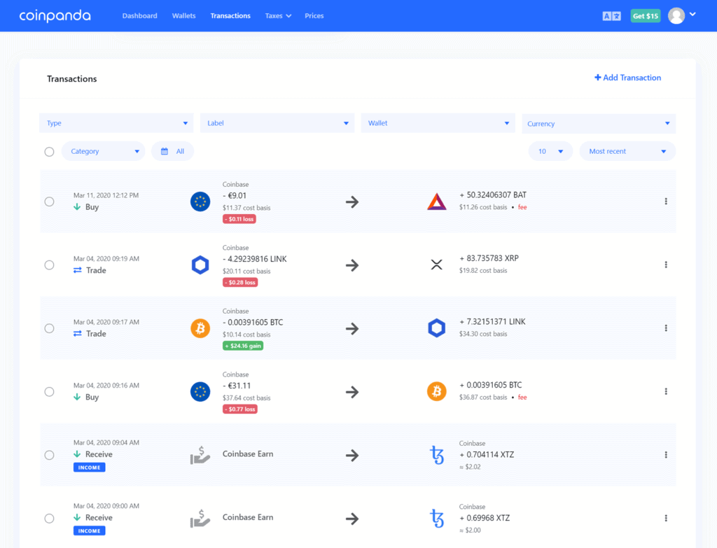 transactions page new